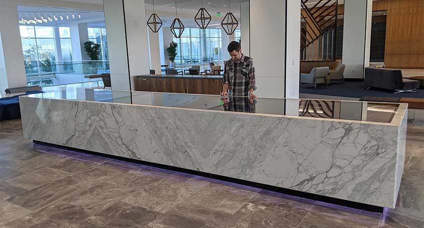 The Ultimate Touch Table - 21 Feet Long and Clad with Italian Marble