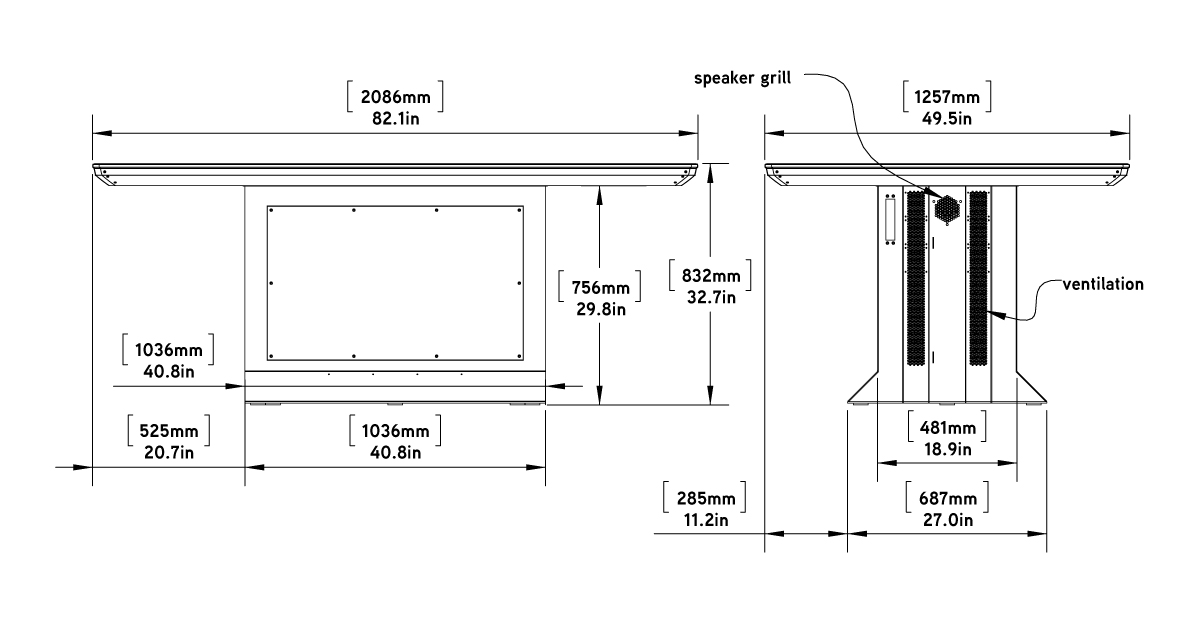 Colossus 86 Multitouch Table Dimensions