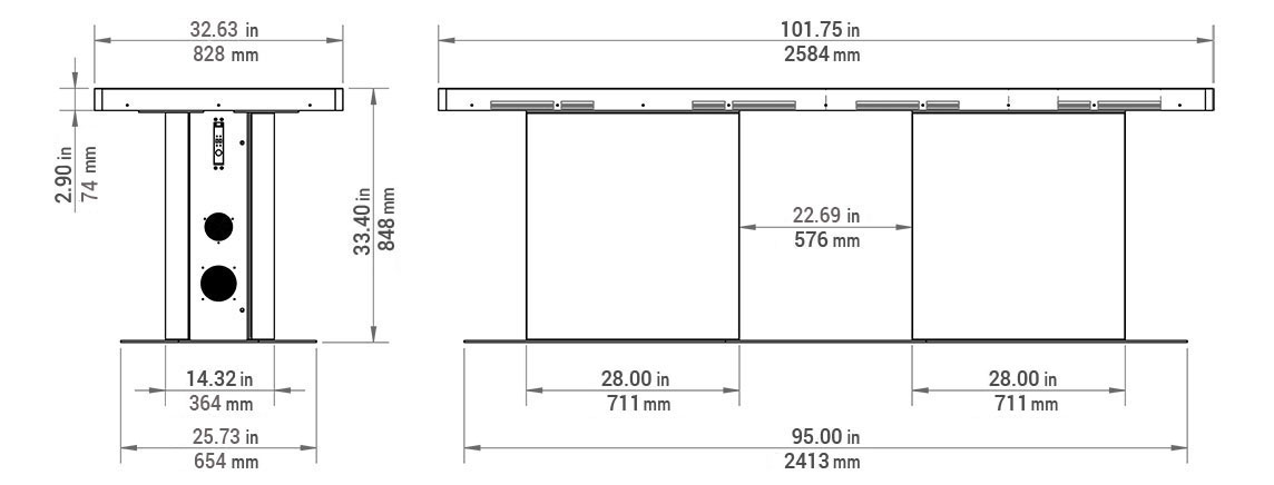 Pano 100 Multitouch Table Dimensions