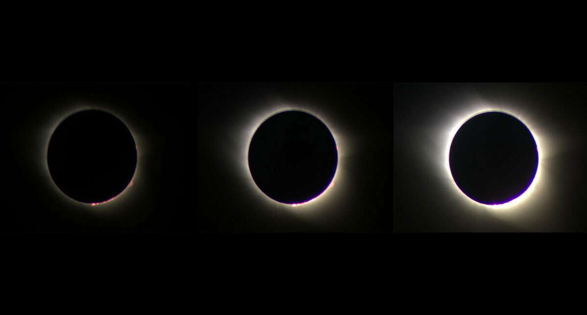 A sequence of images of the 2017 eclipse captured automatically by the Eclipse Camera mobile app