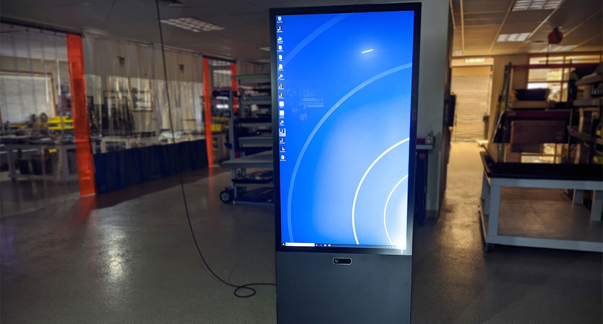 Ideum Vertical Portrait Kiosk Now with Azure Kinect