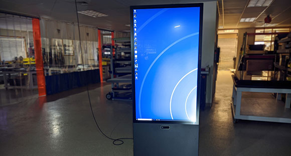Ideum Vertical Portrait Kiosk Now with Azure Kinect.