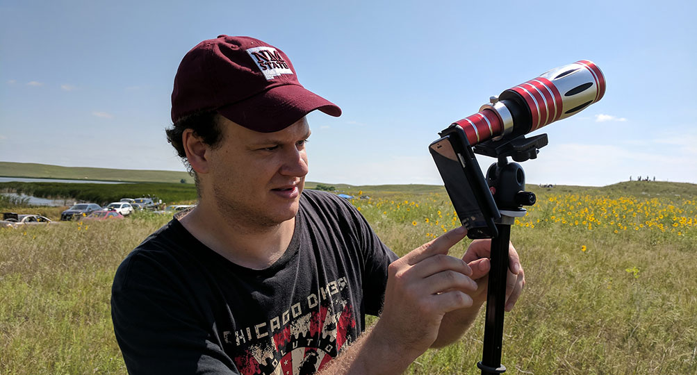 In the wilds of western Nebraska, Lead Developer Braxton Collier sets up an iPhone 6 with a 50x telephoto lens.