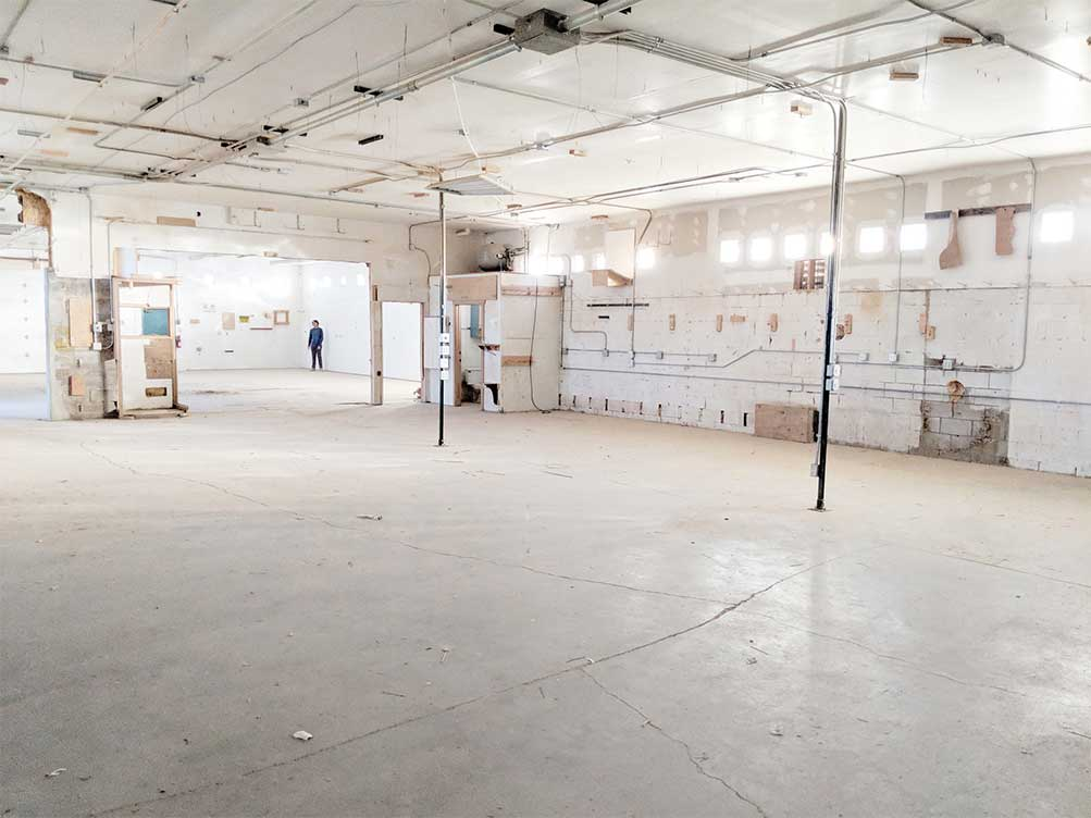 Ideum's new space in Corrales is still rough, but renovations are underway to transform it into a high-tech exhibit workshop.
